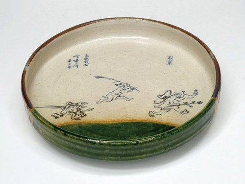 織部鳥獣戯画5寸平鉢(相撲の図)