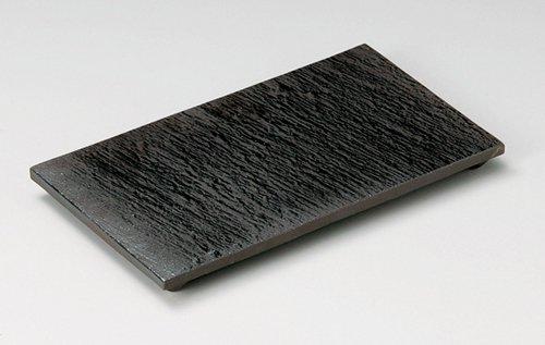 黒陶石目四つ足長角皿(小)