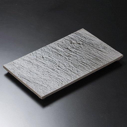 黒陶石目四つ足長角皿(大)