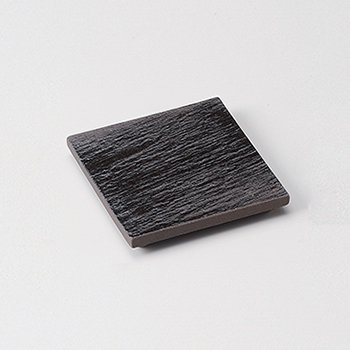 黒陶石目四つ足正角皿(小)