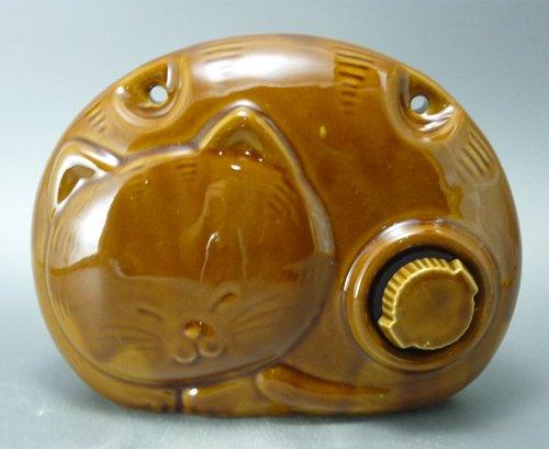 陶器製福猫湯たんぽ(山九製) 薄茶色(薄アメ色)