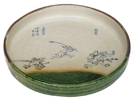 鳥獣戯画 織部7寸平鉢(喧嘩の図)