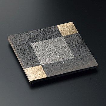金銀彩黒陶石目角皿(大)