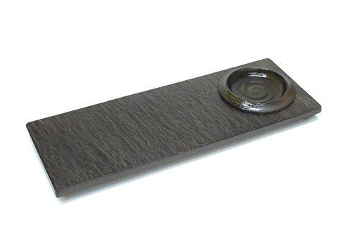 黒陶石目四つ足1つ穴細長角皿