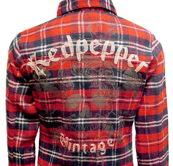 REDPEPPER スカルチェックシャツ No.22LS-13