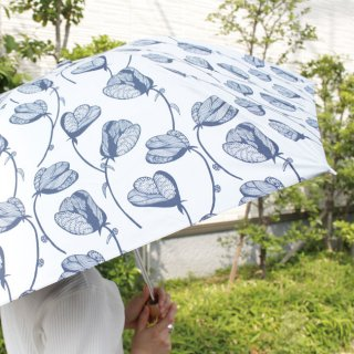 【プリントタイプ】korko(コルコ)/ 晴雨兼用 折りたたみ傘 / ラインフラワー 【UPF50+】【紫外線カット率99%以上】
