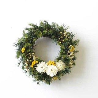 Kukka ja sana クリスマスリース(イエロー) / Sサイズ(直径15cm) 【krone×日比谷花壇】