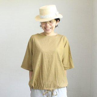 【在庫限り】麻レーヨンストレッチ 裾シャーリングプルオーバー