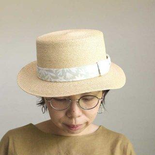 【krone別注】移動帽子屋AURAのカンカン帽子(グリーン&ホワイト)