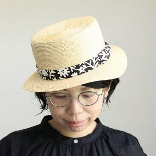 【krone別注】移動帽子屋AURAのカンカン帽子(ブラック&ホワイト)