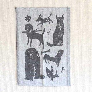 【1年ぶりに再入荷】ラプアン カンクリ/Lapuan Kankurit キッチンタオル KOIRAPUISTO(イヌの公園)ホワイト×ブラック【1点までネコポス発送可】