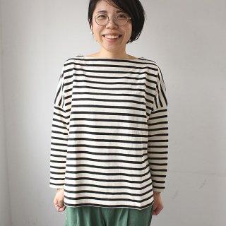 【残りわずか】バスク生地 ボックスカットソー長袖Tシャツ(ボーダー3色・無地4色)  2021新作