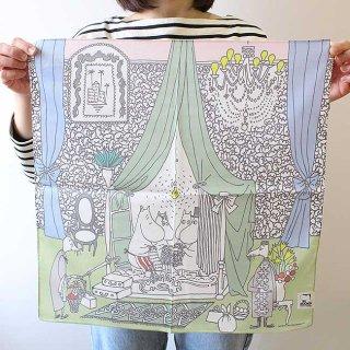 【新柄】Moomin ムーミン ハンカチ みんなでお茶を (グリーン)【北欧】【ネコポス発送可】