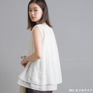 【インスタライブ販売会】先染め綿麻シャンブレー 2枚重ねノースリーブブラウス(全3色)