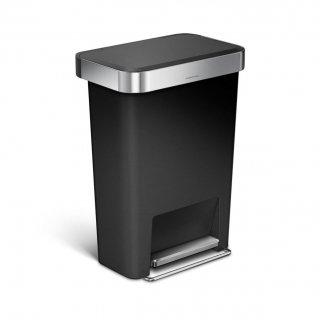 【simplehuman / シンプルヒューマン】ダストボックス プラスチックレクタンギュラーステップカン45L ブラック