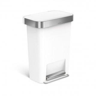 【simplehuman / シンプルヒューマン】ダストボックス プラスチックレクタンギュラーステップカン45L ホワイト
