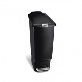 【simplehuman / シンプルヒューマン】ダストボックス スリムプラスチックステップカン40L ブラック