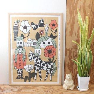【2021年夏限定】 マリメッコ アートポスター Marikyla マリキュラ / 50×70cm(木製フレーム付)/ marimekko 【送料無料】