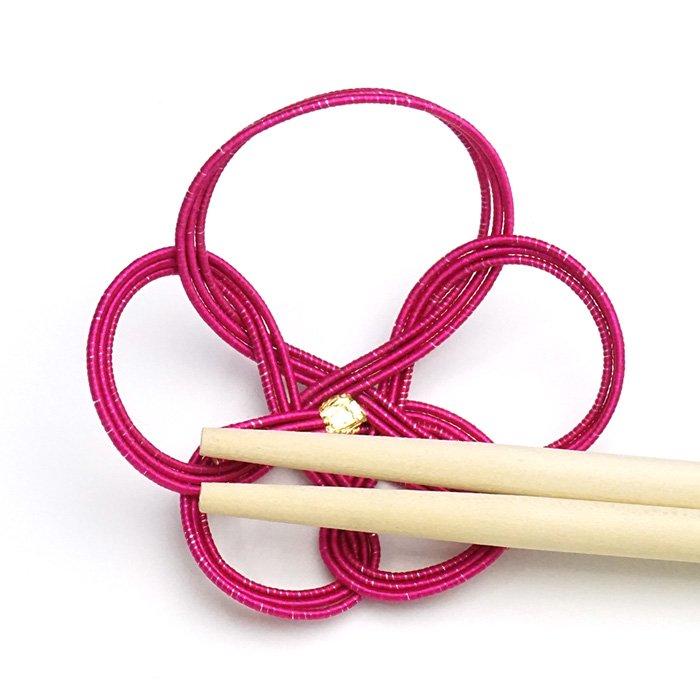 ko0120一輪梅の水引箸置き パープルピンク