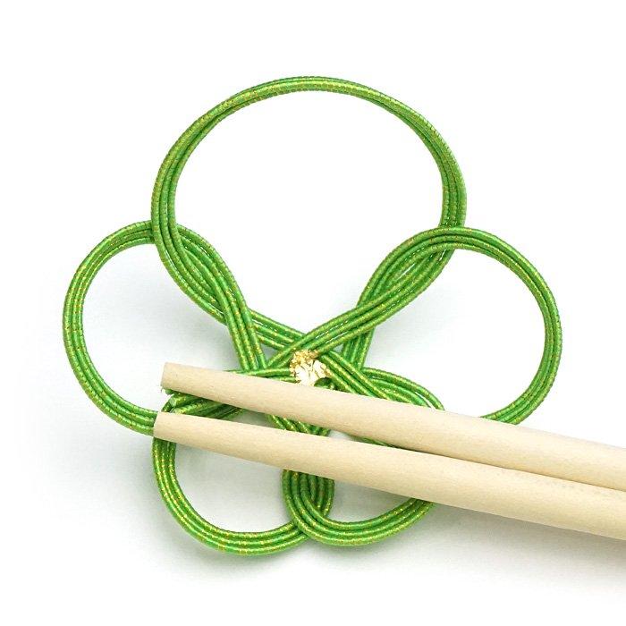 ko0121一輪梅の水引箸置き グリーン