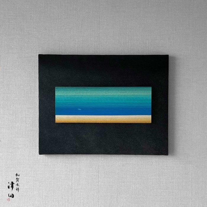 ko0181 水引壁掛けパネル ブルー(黒パネル 小 横41cm×縦32cm)