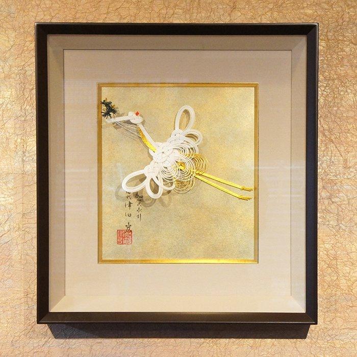 ko0204白鶴 壁掛け飾り額入