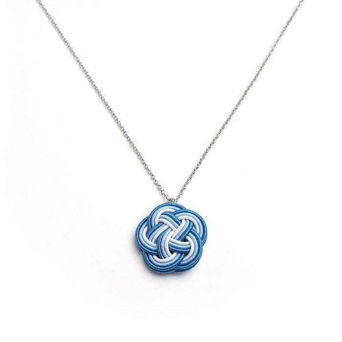ko0221水引ネックレス 花 ブルー