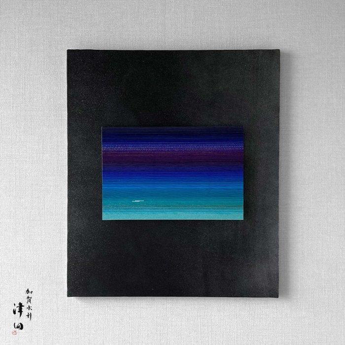 ko0208 水引壁掛けパネル ブルー(黒パネル 大 横45.5cm×縦53cm)