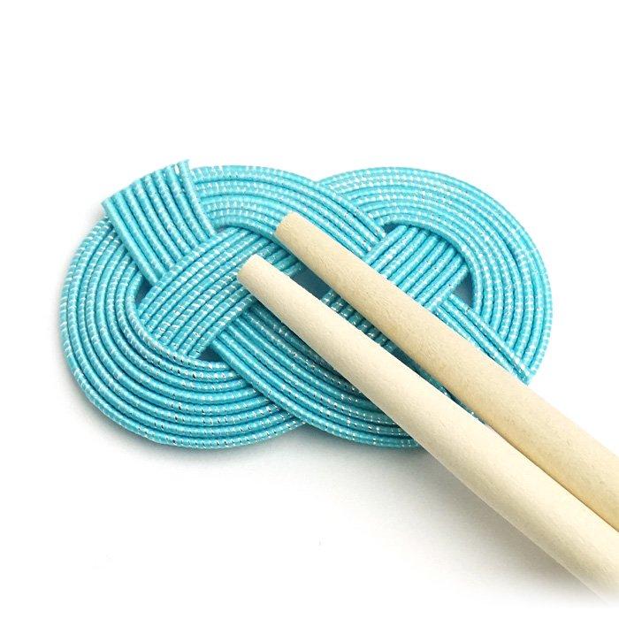 ko0244あわじ結びの水引箸置き ブルー