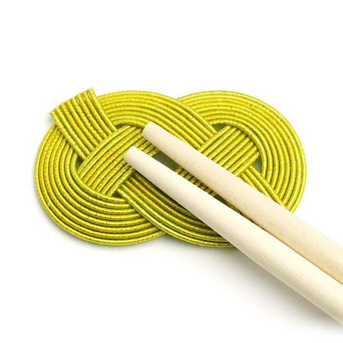 ko0245あわじ結びの水引箸置き グリーン