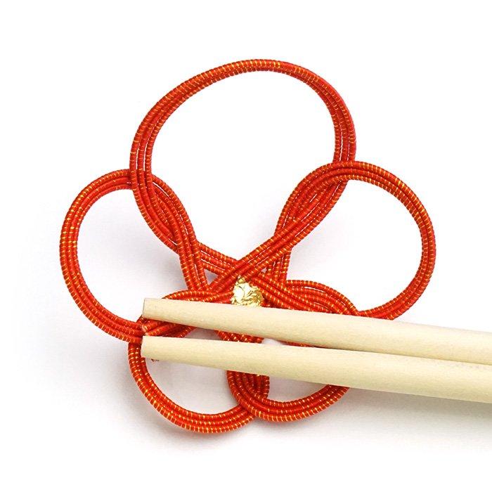 ko0246一輪梅の水引箸置き レッド
