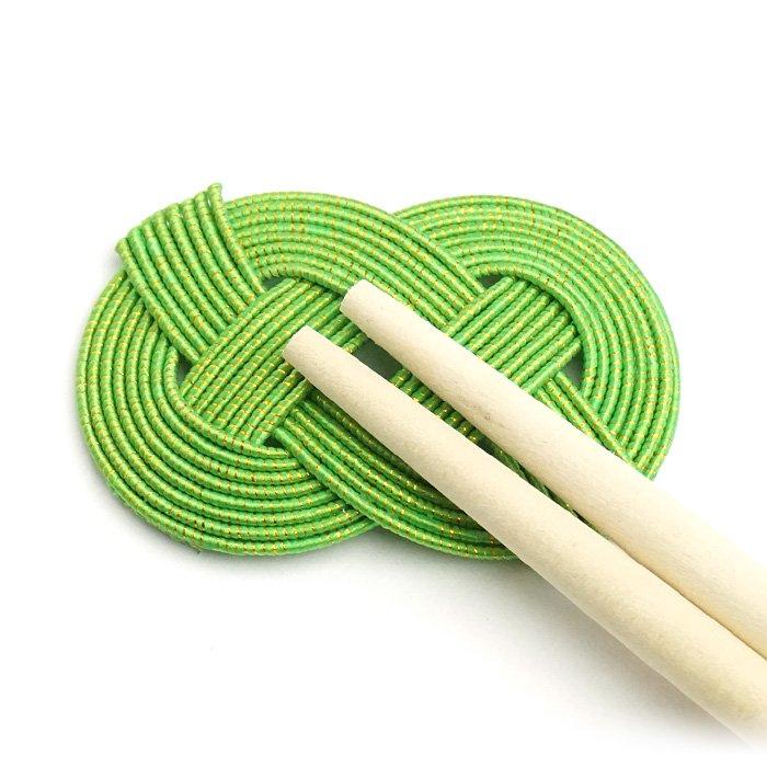 ko0251あわじ結びの水引箸置き グリーン