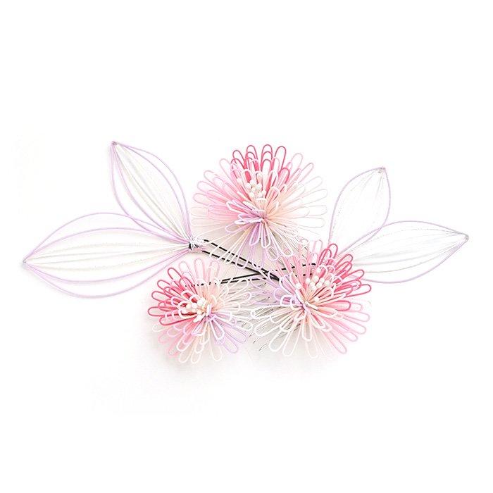 ha0101ポンポン菊のかんざし5点セット ピンク