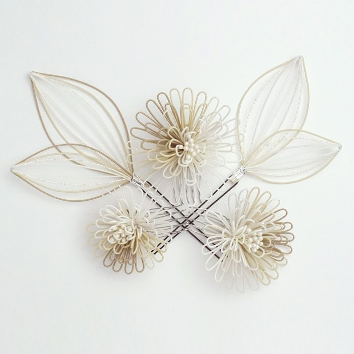 ha0119ポンポン菊のかんざし5点セット ホワイト・ベージュ