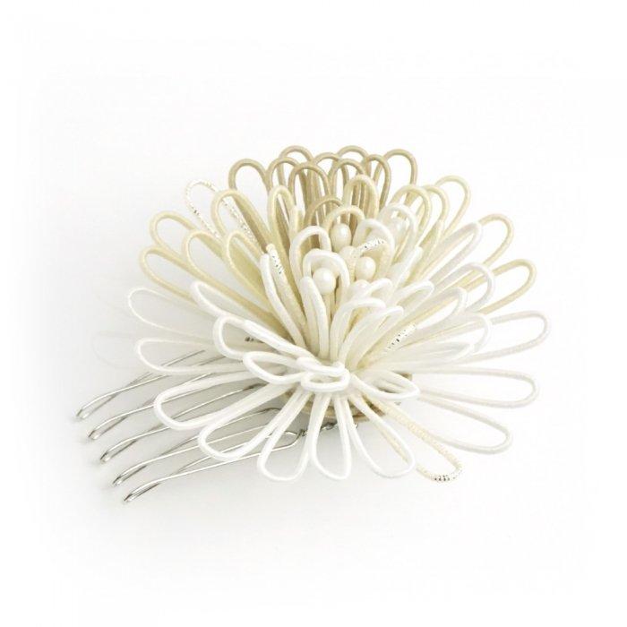 ha0121ポンポン菊のかんざし 小 ホワイト・ベージュ