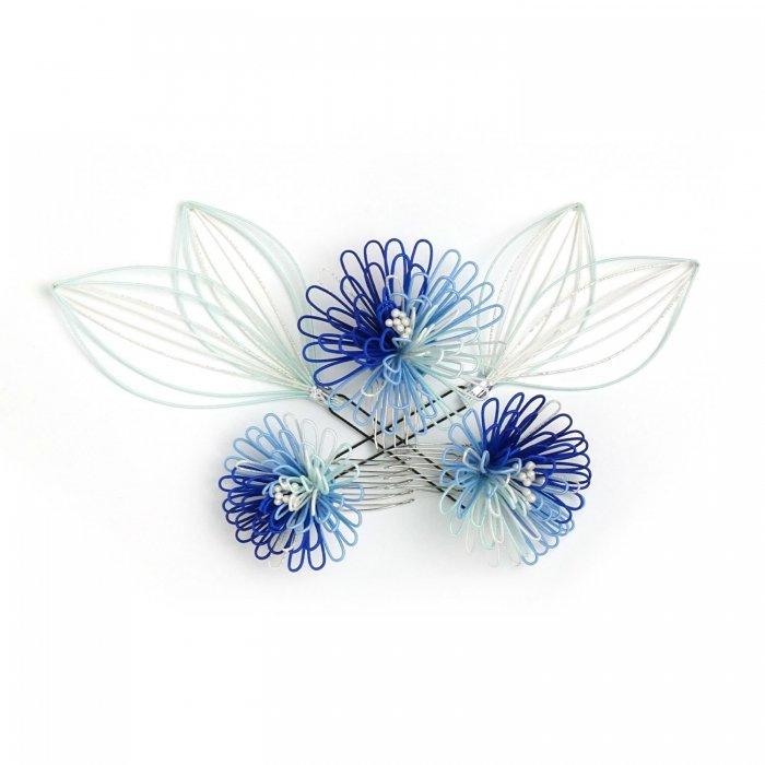 ha0122ポンポン菊のかんざし5点セット ブルー