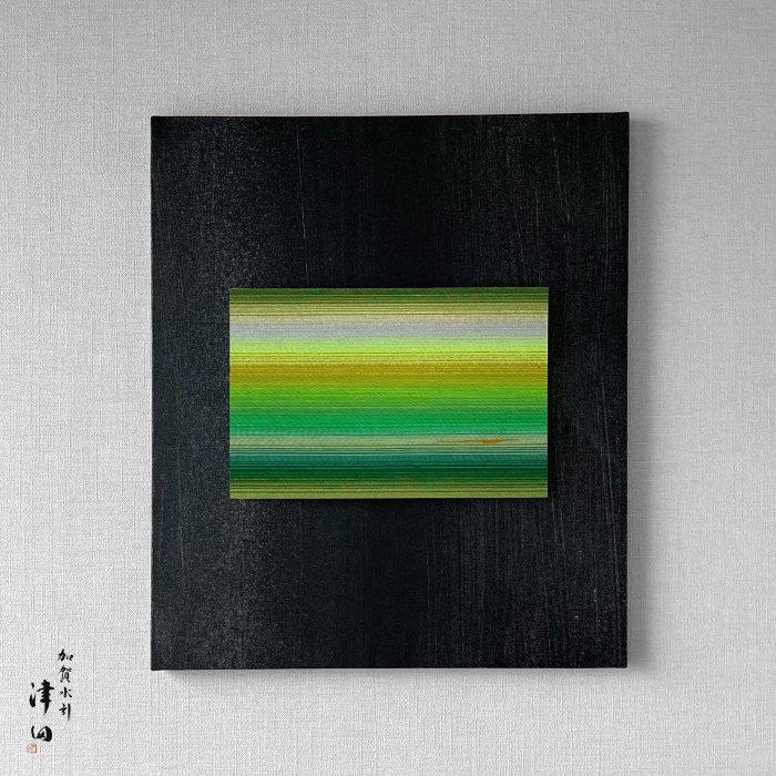 ko0291 水引壁掛けパネル グリーン(黒パネル 大 横45.5cm×縦53cm)