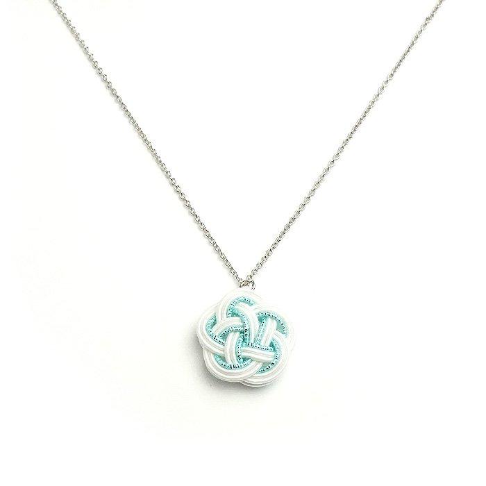 ko0235水引ネックレス 花 ホワイトブルー