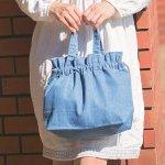 ノベルティ・粗品で人気の「 ライトデニム巾着トート(S)/ヴィンテージブルー」