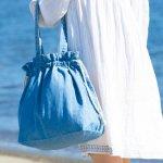 ノベルティ・粗品で人気の「 ライトデニム巾着トート(M)/ヴィンテージブルー」