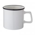 ノベルティ・粗品で人気の「陶器マグストレート ラウンドリップ/ホワイト×ブラック」