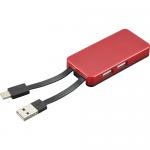USBハブ 2コネクタ/レッド