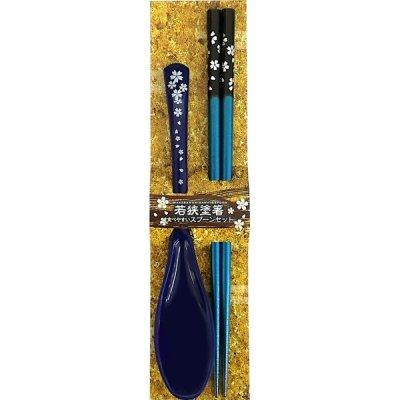 ノベルティ・粗品で人気の「【国産】和装卓上セット銀舞桜 青」