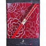 ノベルティ・粗品で人気の「若狭塗箸&ランチョンマットセット 紅花 銀小花 赤」