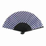 ノベルティ・粗品で人気の「黒竹扇子 紫紺市松【OPP袋入】」