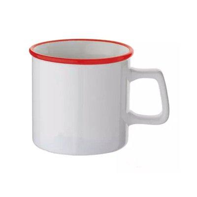 ノベルティ・粗品で人気の「陶器マグストレート ラウンドリップ/ホワイト×レッド」