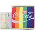 ノベルティ・粗品で人気の「コカ・コーラ レインボー ウオッシュタオル(ポケット付ごあいさつ袋入)」