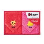 ノベルティ・粗品で人気の「 Sassy(サッシー)ミニタオルギフト/ピンク&レッド」