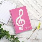 ノベルティ・粗品で人気の「ミュージックライン リングノート B6(ト音記号) ピンク」