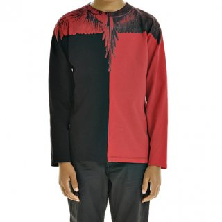 <img class='new_mark_img1' src='https://img.shop-pro.jp/img/new/icons1.gif' style='border:none;display:inline;margin:0px;padding:0px;width:auto;' />Marcelo burlon Kids|マルセロバーロン キッズ 通販|KIDS OF MILAN|バイカラーWINGプリント長袖Tシャツ|ブラック×レッド